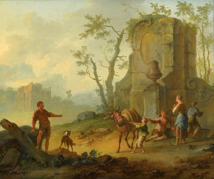 """A Classical Landscape with a Family Resting by the Ruins of a Fountain, a Man with a Pack-Donkey Passing by"" & ""A Classical Landscape with a Family Resting by the Ruins, a Boy Struggling with an Obstinate Pack Mule"""